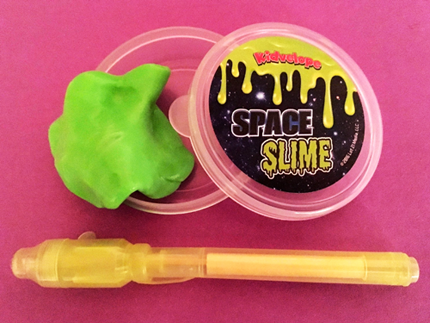 Glow-in-the-dark space slime and UV pen